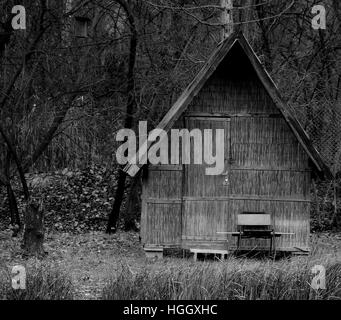 House, House in reed, BW house,Lake, peace,relax,chill,chilling,quiet,tree,fisher house, reflectionp,nice house, - Stock Photo