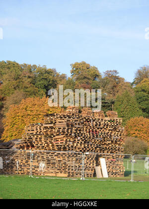 Pile of Wooden Pallets forming an Unlit Bonfire Pile, Himley Hall. Staffordshire, England, UK - Stock Photo