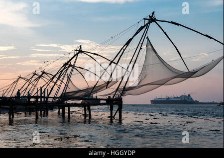 Chinese fishing nets, Fort Kochi, Cochin, Kerala, India - Stock Photo