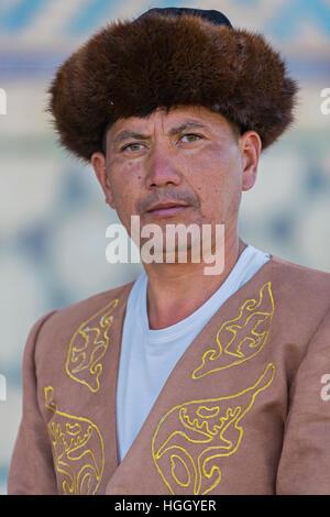 Kazakh man in national costumes, in Turkestan, Kazakhstan - Stock Photo