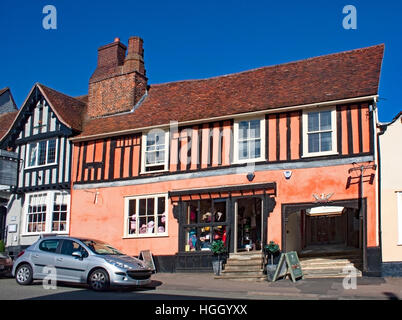 Shop in a half-timbered house  in the High Street, Lavenham, Suffolk, England - Stock Photo