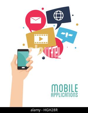 hand hold smartphone mobile applications - Stock Photo