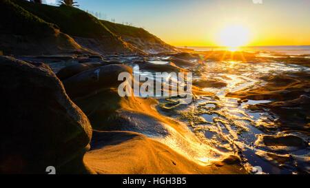 Sun set  at La Jolla, california - Stock Photo