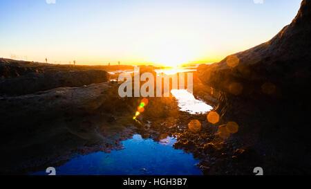 Sunset at Bird dock, La Jolla, California. - Stock Photo