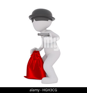 Grey cartoon robber with red bag pointing gun wearing hat with sunglasses, 3D render isolated on white - Stock Photo