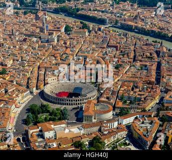 City view, city centre with Arena di Verona, Adige River, Province of Verona, Veneto, Italy - Stock Photo