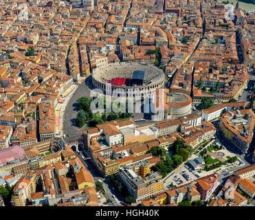 City view, city centre with Arena di Verona, Province of Verona, Veneto, Italy - Stock Photo