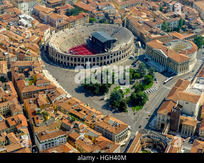 City centre with Arena di Verona, Province of Verona, Veneto, Italy - Stock Photo