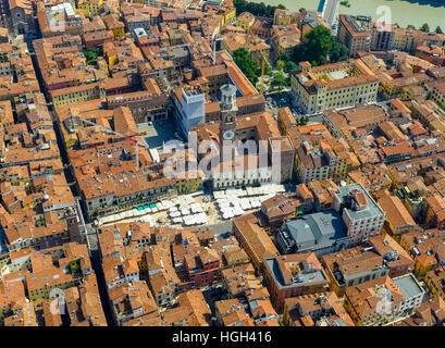 View of city centre with Piazza delle Erbe, market square, Domus Mercatorum, Torre dei Lamberti, Province of Verona - Stock Photo