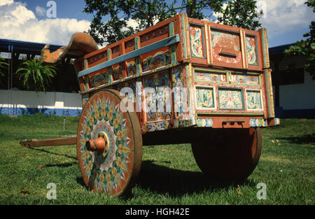 Painted ox cart in the village of Sarchi, Costa Rica, Central America - Stock Photo