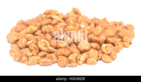 grains of popcorn isolated on white background - Stock Photo