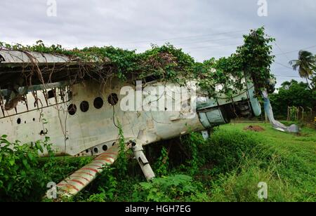 The Pearls Airport in Grenville, Grenada, is now abandoned grazing land with Cuban and Soviet airplane wrecks - Stock Photo