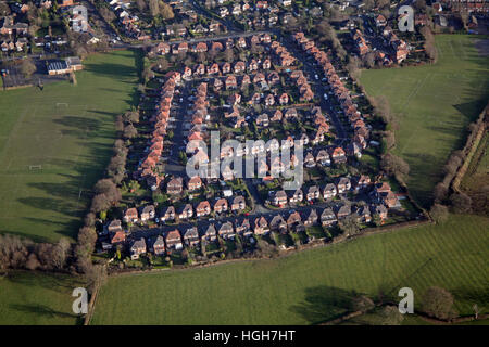 aerial view of Drayton Drive at Heald Green, Cheadle, Cheshire, UK - Stock Photo