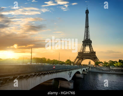 Paris, the beautiful view of the Eiffel Tower on a summer day - Stock Photo
