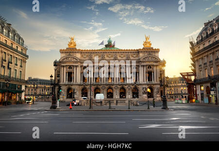 Palais or Opera Garnier & The National Academy of Music in Paris, France - Stock Photo