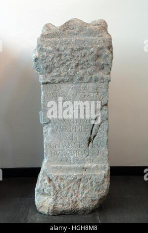 milestone ancient Roman stone archaeological National Museum of Archaeology in Grumento, Basilicata, italy - Stock Photo
