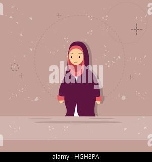 Arab Female Cartoon Woman, Muslim Girl Portrait - Stock Photo