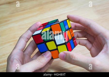 Bangkok, Thailand - January 9, 2017 : Rubik's cube was being solved. - Stock Photo