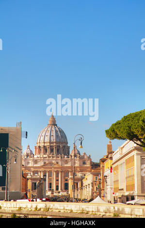 The Papal Basilica of St. Peter in the Vatican city - Stock Photo