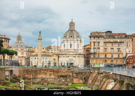 ROME - NOVEMBER 07: Santa Maria di Loreto church and Colonna Traiana with people on November 7, 2016 in Rome, Italy. - Stock Photo