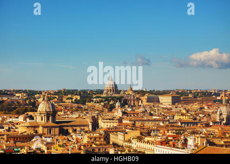 Rome aerial view with the Papal Basilica of St. Peter in the Vatican city - Stock Photo