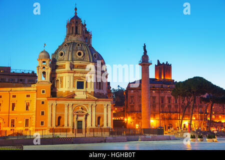 Santa Maria di Loreto church and Colonna Traiana in Rome, Italy - Stock Photo