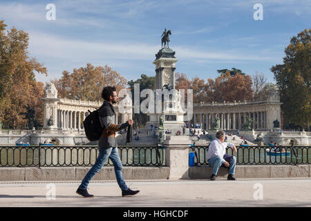 Monument to King Alfonso XII Parque del Retiro Madrid Spain Stock Photo, Roya...