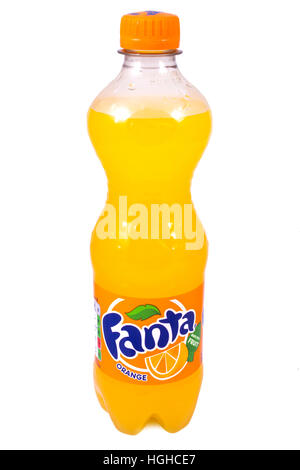 LONDON, UK - JANUARY 4TH 2017: A studio shot of a bottle of Fanta Orange over a plain white background, on 4th January - Stock Photo
