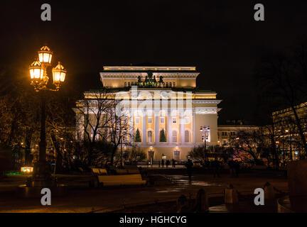 The Alexandrinsky Theatre or Russian State Pushkin Academy Drama Theater at night, Saint Petersburg, Russia - Stock Photo