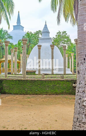The Ambasthala Dagoba and Maha Stupa in Mihintale Temple, the cradle of Buddhism in Sri Lanka. - Stock Photo
