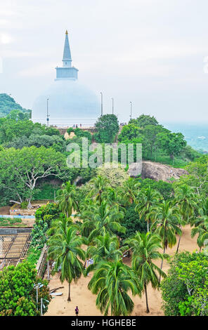 The Maha Seya Stupa topped the Mahinda's Hill in Mihintale Temple, Sri Lanka. - Stock Photo