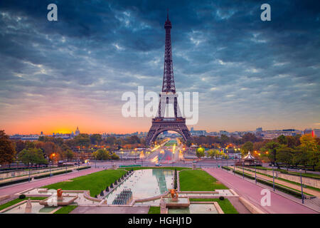Paris. Cityscape image of Paris, France with the Eiffel Tower during sunrise. - Stock Photo