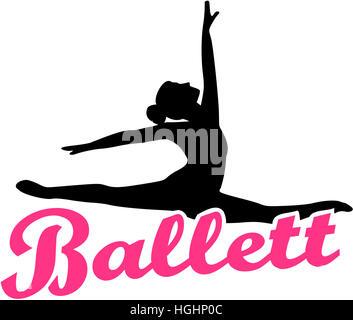 Ballet dancer with german retro ballett word - Stock Photo
