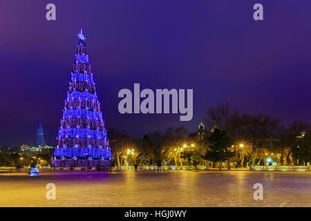 Christmas tree on the boulevard in Baku.Azerbaijan - Stock Photo