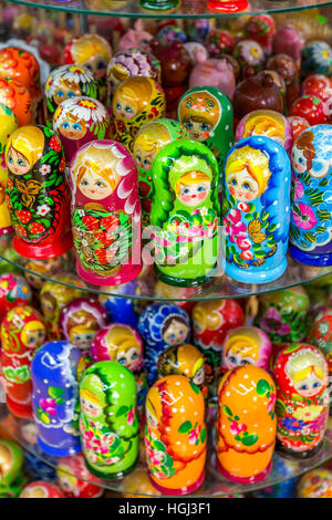 Matryoshkas, Russian nesting dolls on display in a shop, in the Old Town, Prague, Czech Republic. - Stock Photo