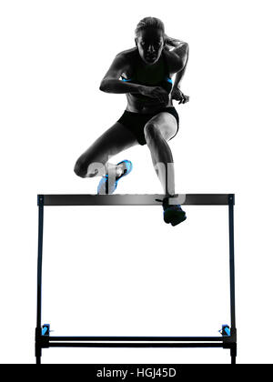 one  caucasian woman hurdlers  hurdling in silhouette isolated white background - Stock Photo