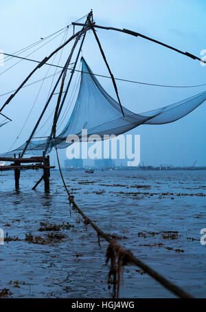 Chinese fishing net, Fort Kochi, Cochin, Kerala, India - Stock Photo