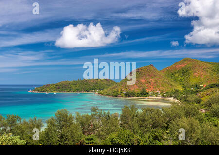 Beautiful view on Praslin island, Seyshelles. - Stock Photo