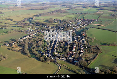 aerial view of Thorner village in West Yorkshire, UK - Stock Photo