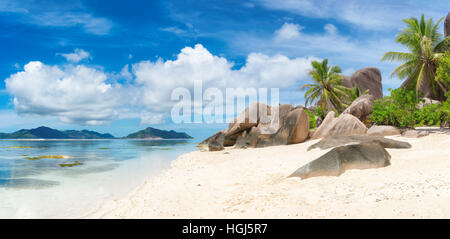 Paradise beach of La Digue island, Seychelles. - Stock Photo