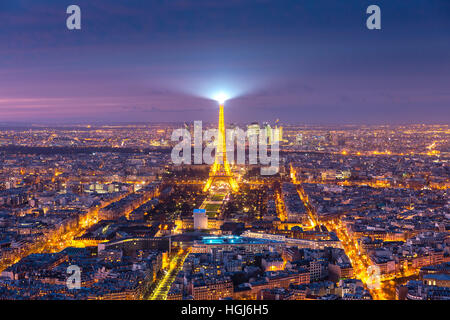 Aerial view of Eiffel Tower in Paris, France - Stock Photo