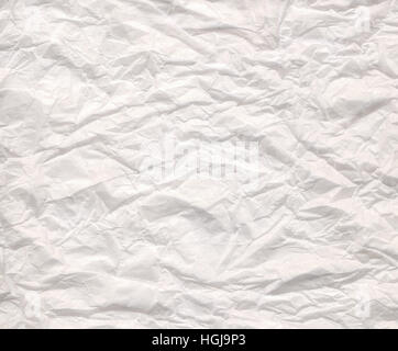 Close up view of a white wrinkled paper - Stock Photo