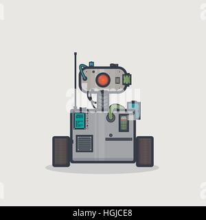 Line pixel style classic robot with rectangle body and moving head on neck with camera and gadgets. - Stock Photo