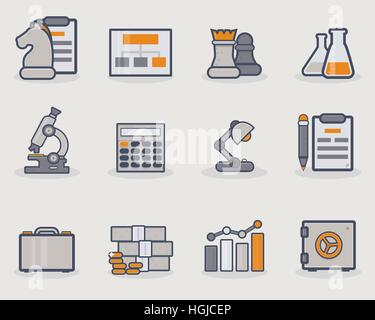Set of thin line icons with grey and golden color. - Stock Photo
