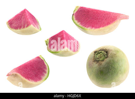 Daikon purple radish vegetable closeup isolated on white - Stock Photo