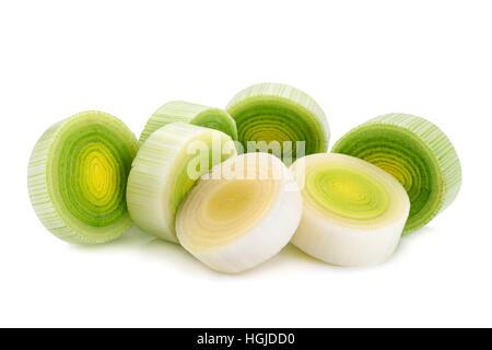Leek vegetable closeup isolated on white background - Stock Photo