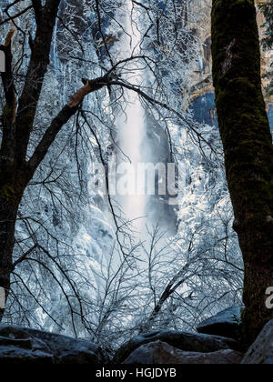 Ice and water - a winter scene at Bridalveil Falls in the Yosemite Valley, California in December 2016. - Stock Photo