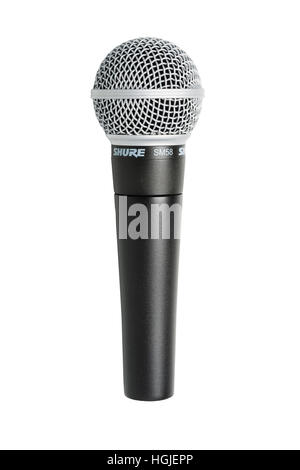 A Sure SM58 microphone on a white background - Stock Photo