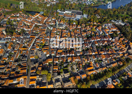 Aerial view, overview of the City Historian of Warendorf with marketplace and Chiesa Laurentius church, Aerial view - Stock Photo