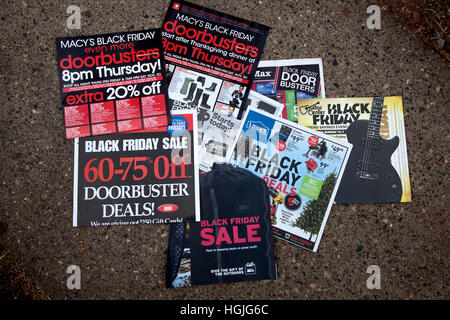 Assortment of doorbusters black Friday after Thanksgiving sale advertisements. St Paul Minnesota MN USA - Stock Photo